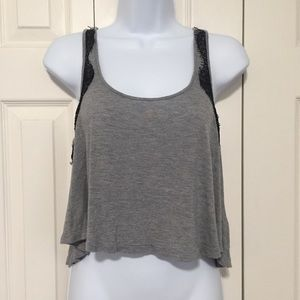 Guess | Soft Gray Black Lace Cropped Tank Top